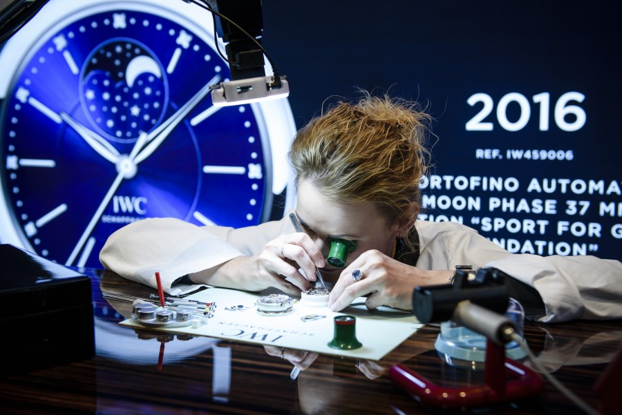 """HANDOUT - Berlin, 18 April 2016 in Berlin where the Swiss luxury watch manufacturer presented the limited special edition watch Portofino Automatic Moon Phase 37 """"Edition Laureus Sport for Good Foundation"""" with the characteristic Laureus blue on the dial. As part of the company long-term commitment to the Laureus Sport for Good Foundation, the sports timepiece maintains one of the Swiss watchmaker's grand traditions: part of the proceeds from sales will go to help children in crisis-hit areas of the world..(PHOTOPRESS/IWC/Getty Images)"""