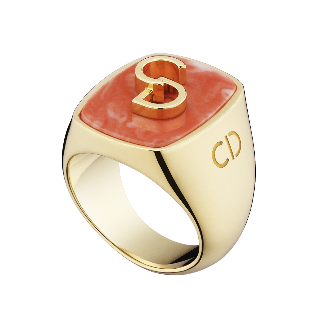 Lucky-Dior-CD-signature-pattern-ring-in-metal-with-gold-finish-and-coral-paste