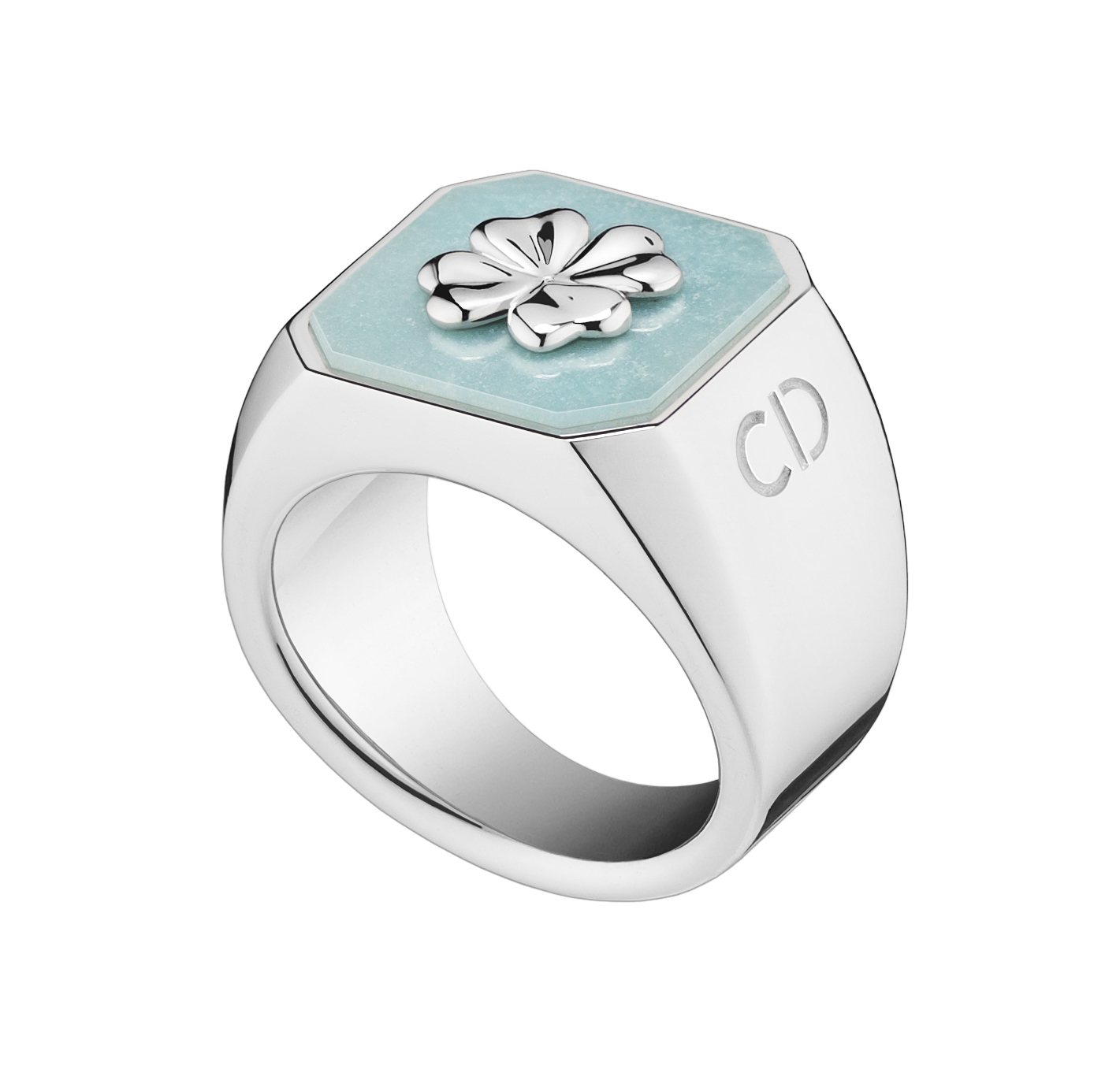 Lucky-Dior-Clover-pattern-ring-in-metal-with-rhodium-finish-and-amazonite