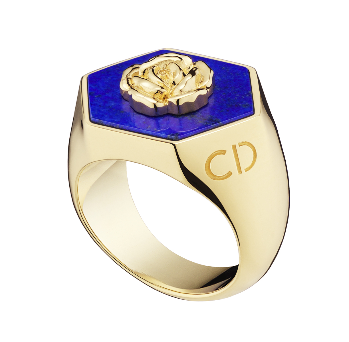 Lucky-Dior-Rose-pattern-ring-in-metal-with-gold-finish-and-lapis-lazuli