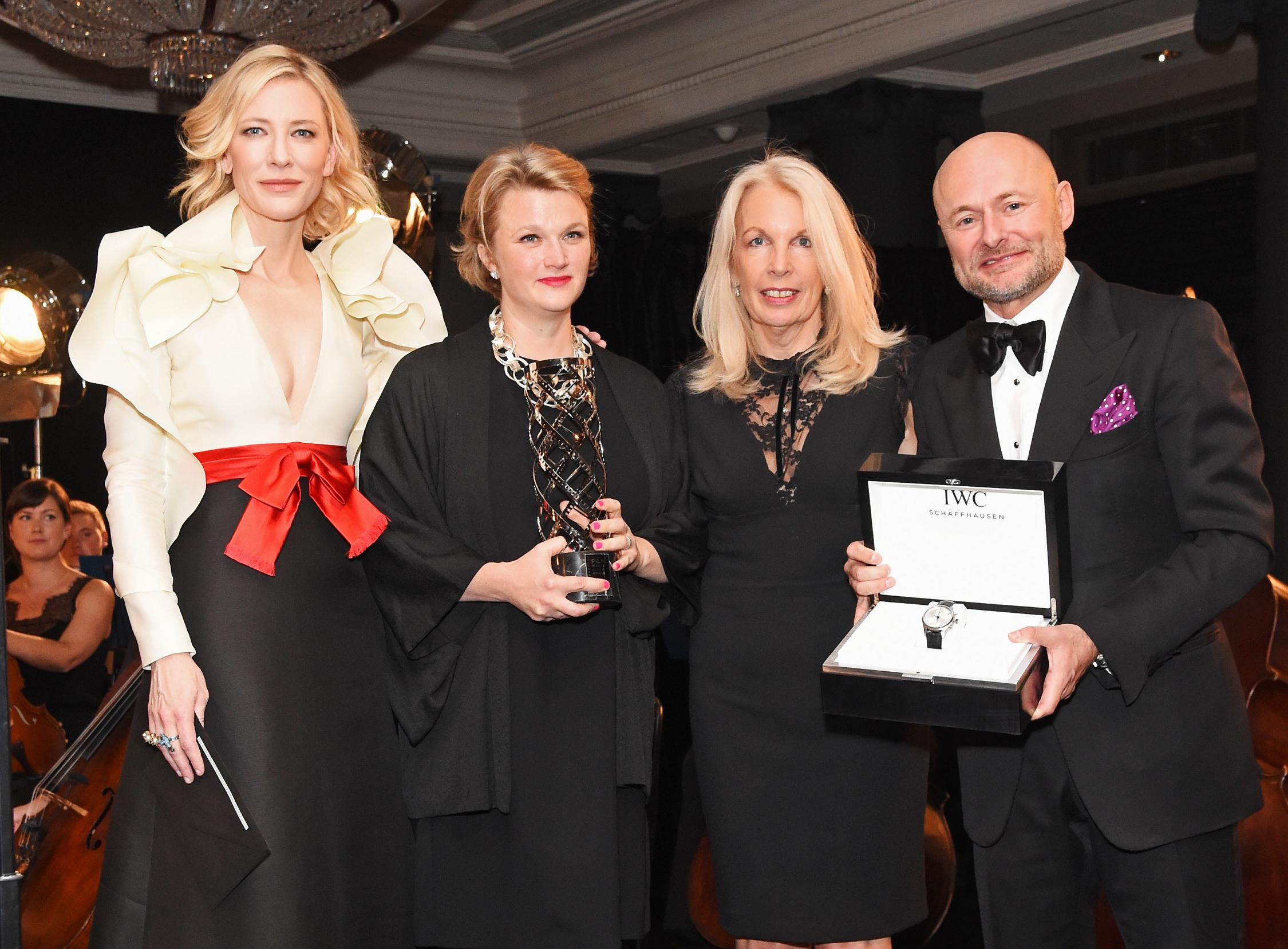 LONDON, ENGLAND - OCTOBER 04: (L to R) Cate Blanchett, Hope Dickson-Leach, BFI CEO Amanda Nevill and IWC CEO Georges Kern attend the IWC Schaffhausen Dinner in Honour of the BFI at Rosewood London on October 4, 2016 in London, England. (Photo by David M. Benett/Dave Benett/Getty Images for IWC Schaffhausen )