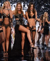 LONDON, ENGLAND - DECEMBER 02:  Victoria's Secret models (L-R) Lily Aldridge, Candice Swanepoel, Doutzen Kroes, Alessandra Ambrosio and Adriana Lima  walks the runway during finale of the 2014 Victoria's Secret Fashion Show at Earl's Court exhibition centre on December 2, 2014 in London, England.  (Photo by Dimitrios Kambouris/Getty Images for Victoria's Secret)