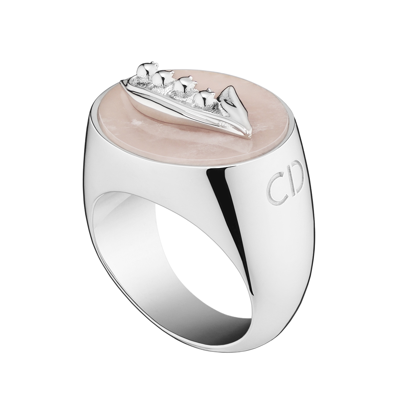 Lucky-Dior-Lily-Of-The-Valley-pattern-ring-in-metal-with-rhodium-finish-and-pink-quartz