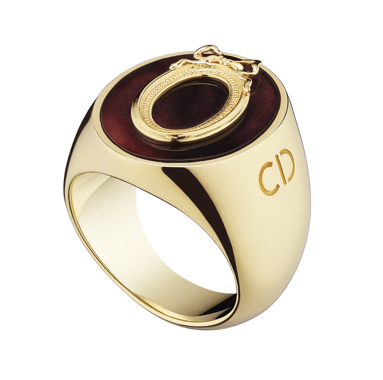 Lucky-Dior-Oval-pattern-ring-in-metal-with-gold-finish-and-fluorite