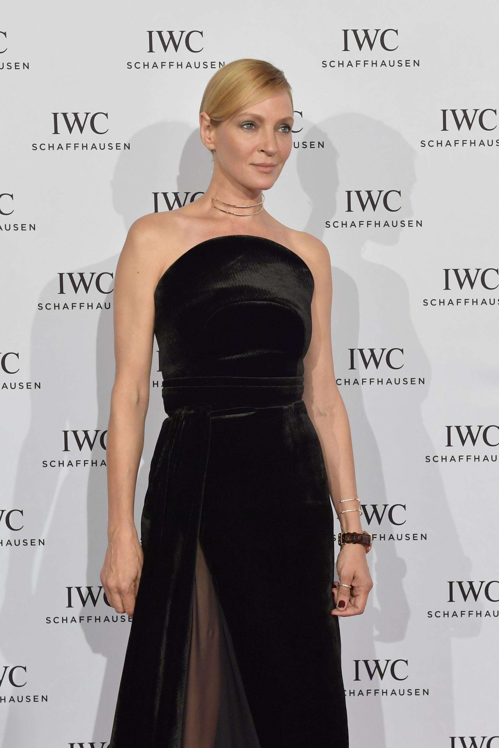 ZURICH, SWITZERLAND - SEPTEMBER 24: Uma Thurman attends the IWC 'For the Love of Cinema' gala dinner held at AURA Zurich on September 24, 2016 in Zurich, Switzerland. During the event, actress Uma Thurman presented the second 'Filmmaker Award' worth CHF 100.000 in sponsorship. The award was set up by the Association for the Promotion of Film in Switzerland ('Verein zur Filmfoerderung in der Schweiz'). (PPR/Getty Images for IWC/Harold Cunningham)