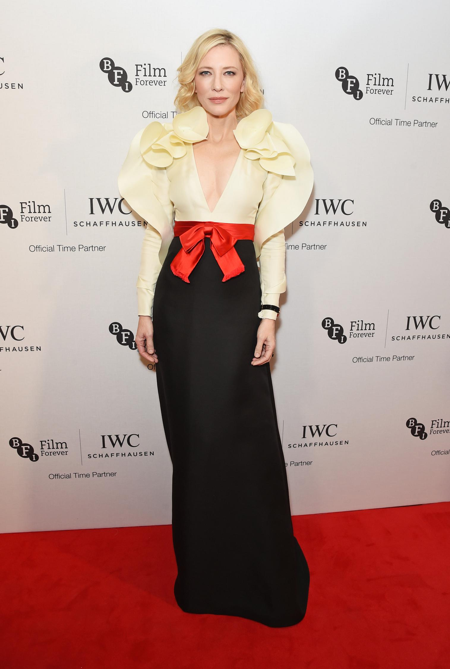 LONDON, ENGLAND - OCTOBER 04: Cate Blanchett attends the IWC Schaffhausen Dinner in Honour of the BFI at Rosewood London on October 4, 2016 in London, England. (PPR/IWC/Getty Images/Dave Benett)